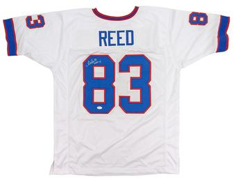 Andre Reed Autographed Buffalo Bills White Football Jersey HOF 14 (JSA COA)