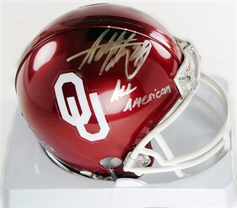 "Adrian Peterson Autographed Oklahoma Sooners Football Mini-Helmet ""All American"""
