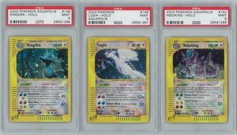 Pokemon Aquapolis Complete 182 card Set - All Holos H1-H32 & Crystal Type PSA Graded 32x 9 MINT