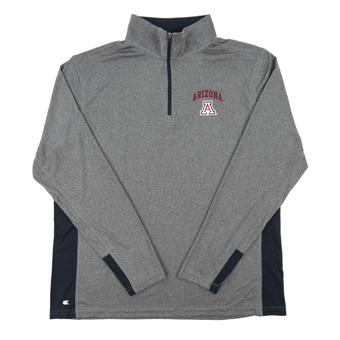 Arizona Wildcats Colosseum Gray Ridge Runner 1/4 Zip Performance Long Sleeve Shirt (Adult Large)