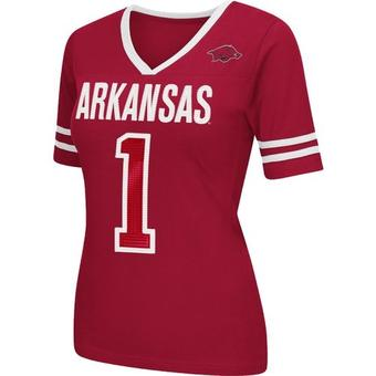 Arkansas Razorbacks Colosseum Womens Red Disco V-Neck Tee Shirt (Womens XXL)