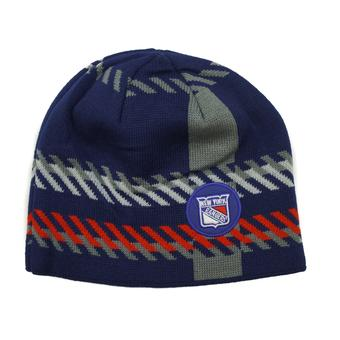 New York Rangers Old Time Hockey Navy Bolgar Beanie Knit Hat (Adult OSFA)