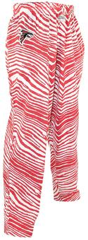 Atlanta Falcons Zubaz Red and White Zebra Print Pants (Adult M)