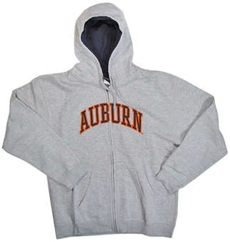 Auburn Tigers NCAA Genuine Stuff Grey Full Zip Fleece Hoodie (Size Large)