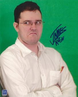 """James Rolfe 8x10 Autographed Angry Video Game Nerd """"AVGN"""" Green Screen Photo"""