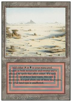 Magic the Gathering 3rd ed (Revised) Single Badlands (Signed by Artist) - MODERATE PLAY (MP)