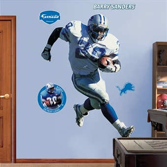 Barry Sanders Detriot Lions Fathead Life Sized Wall Graphic