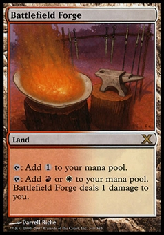 Magic the Gathering 10th Edition Single Battlefield Forge FOIL - SLIGHT PLAY (SP)