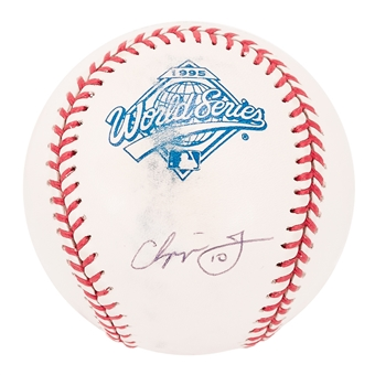Chipper Jones Autographed Atlanta Braves 1995 World Series Baseball (Press Pass) NM