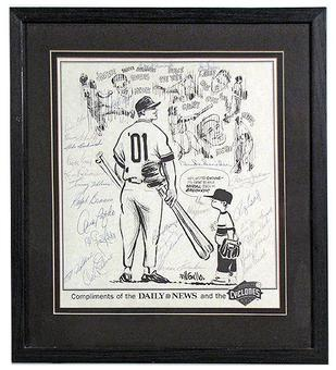 Brooklyn Dodgers Alumni Autographed & Framed Magazine Page