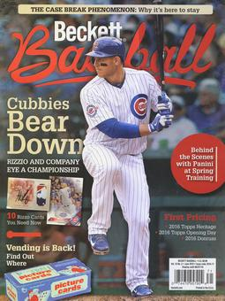 2016 Beckett Baseball Monthly Price Guide (#123 June) (Anthony Rizzo)