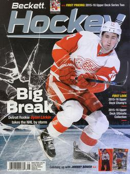 2016 Beckett Hockey Monthly Price Guide (#285 May) (Dylan Larkin)