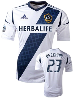 David Beckham #23 Los Angeles Galaxy Adidas White Replica Jersey (Size X-Large)