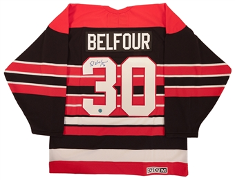 Ed Belfour Autographed Chicago Blackhawks Throwback CCM Jersey (AJ's Sportsworld)