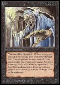 Magic the Gathering Beta Single Lich UNPLAYED (NM/MT)