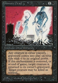 Magic the Gathering Beta Single Animate Dead - MODERATE PLAY (MP)