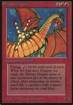 Magic the Gathering Beta Single Shivan Dragon - MODERATE PLAY (MP)