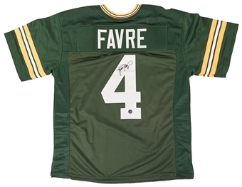 Brett Favre Autographed Green Bay Packers Green Football Jersey (Farve Hologram)