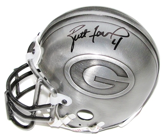 Brett Favre Autographed Green Bay Packers Pewter Mini Helmet