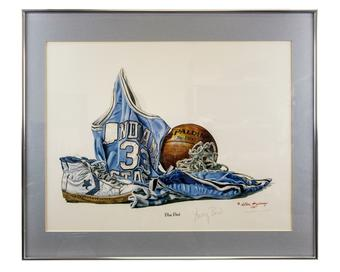Larry Bird Autographed Allen Hackney 1987 Limited Edition Framed Lithograph #165/1200