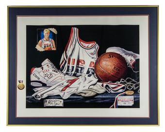 Larry Bird Autographed Allen Hackney 1992 Limited Edition Framed Team USA Olympic Lithograph #300/600