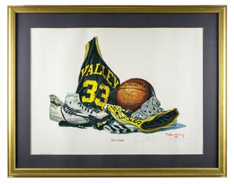 Larry Bird Autographed Allen Hackney 1987 Limited Edition Framed Valley Lithograph #39/1200