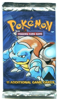 Pokemon Base Set 1 Black Triangle Error Booster Pack - BLASTOISE ART