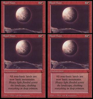 Magic the Gathering The Dark PLAYSET Blood Moon - SLIGHT PLAY (SP)