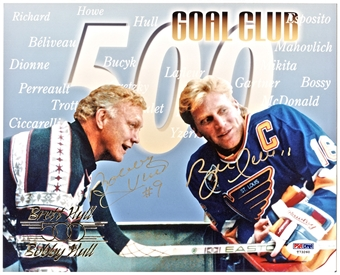 Bobby Hull & Brett Hull Autographed 500 Goal Club 8X10 Photo (PSA)