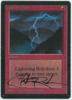 Magic the Gathering Beta Single Lightning Bolt - SLIGHT PLAY (SP) - Artist Signed!