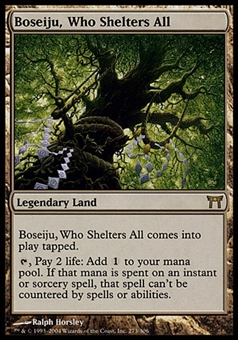 Magic the Gathering Champs of Kamigawa Single Boseiju, Who Shelters All - MODERATE PLAY