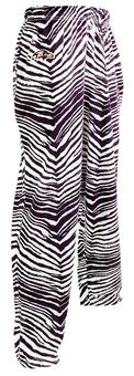 Baltimore Ravens Zubaz Purple and White Zebra Print Pants (Adult M)