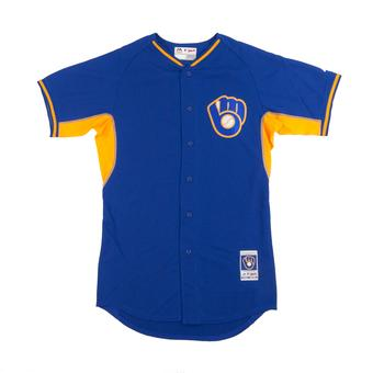Milwaukee Brewers Majestic Royal BP Cool Base Performance Authentic Jersey (48)