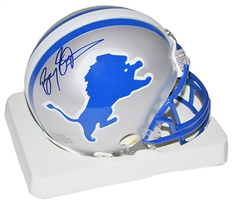 Barry Sanders Autographed Detroit Lions Mini Helmet (Mounted Memories)