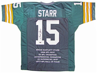 Bart Starr Autographed Green Bay Packers Replica Jersey (TriStar COA)