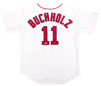 Clay Buchholz Autographed Boston Red Sox Majestic Baseball Jersey (MLB Hologram)