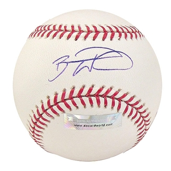 Brandon Wood Autographed Baseball (Slightly Stained) (DACW COA)