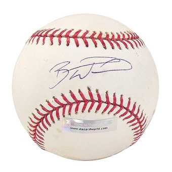 Brandon Wood Autographed Baseball (Stained) (DACW COA)