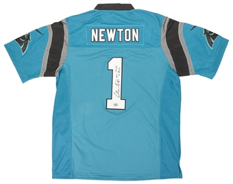 Cam Newton Autographed Carolina Panthers Blue Football Jersey w/ inscriptions (Fanatics)