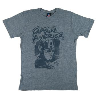 Captain America Junk Food Heather Blue Vintage Tee (Adult M)