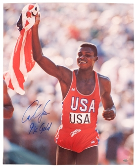 "Carl Lewis Autographed Team USA 16x20 Photograph w/""9x's Gold"" Inscription (Leaf Auth)"