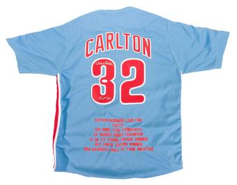 "Steve Carlton Autographed Philadelphia Phillies Stat Jersey w/""HOF 94"" Inscription (JSA)"