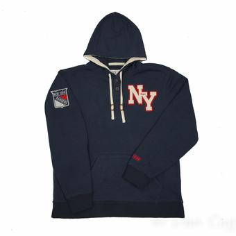 New York Rangers CCM Reebok Heathered Navy Sweater Knit Fleece Hoodie (Adult XL)