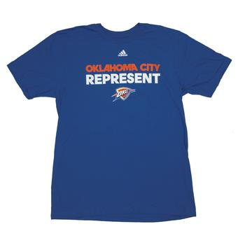 Oklahoma City Thunder Adidas Blue The Go To Tee Shirt (Adult L)