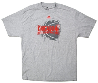 Chicago Bulls Basketball Grey Adidas T-Shirt (Size Small)