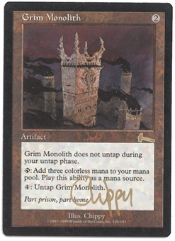 Magic the Gathering Urza's Legacy Single Grim Monolith FOIL MODERATE PLAY (MP) - ARTIST SIGNED