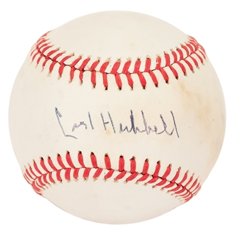 Carl Hubbell Autographed New York Giants Rawlings National League Baseball (JSA)