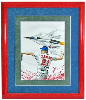 Roger Clemens Boston Red Sox Framed Gary Longordo Painting