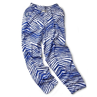 Indianapolis Colts Zubaz Royal and White Zebra Print Pants (Adult L)