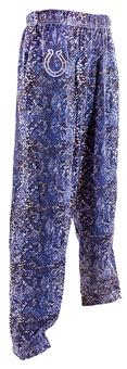 Indianapolis Colts Zubaz Royal and White Post Print Pants (Adult M)